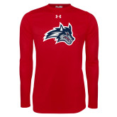 Under Armour Red Long Sleeve Tech Tee-Wolfie Head