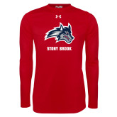 Under Armour Red Long Sleeve Tech Tee-Wolfie Head and Stony Brook