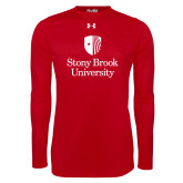 Under Armour Red Long Sleeve Tech Tee-University Mark Vertical