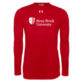 Under Armour Red Long Sleeve Tech Tee-University Mark Stacked