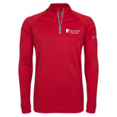 Under Armour Red Tech 1/4 Zip Performance Shirt-University Mark Stacked