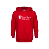 Youth Red Fleece Hoodie-University Mark Stacked
