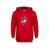 Youth Red Fleece Hoodie-Illustrated Football Wolfie
