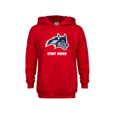 Youth Red Fleece Hoodie-Wolfie Head and Stony Brook