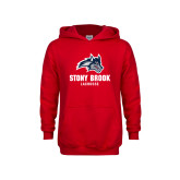 Youth Red Fleece Hoodie-Wolfie Head Stony Book Lacrosse
