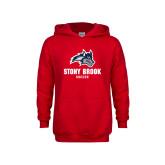 Youth Red Fleece Hoodie-Wolfie Head Stony Book Soccer