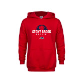 Youth Red Fleece Hoodie-Soccer Stacked