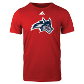 Adidas Red Logo T Shirt-Wolfie Head