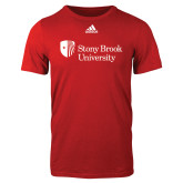 Adidas Red Logo T Shirt-University Mark Stacked
