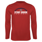 Performance Red Longsleeve Shirt-Football Stacked