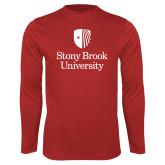 Performance Red Longsleeve Shirt-University Mark Vertical