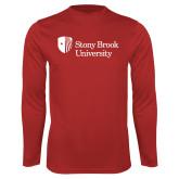 Performance Red Longsleeve Shirt-University Mark Stacked