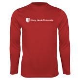 Performance Red Longsleeve Shirt-University Mark Horizontal