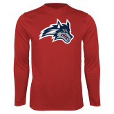 Performance Red Longsleeve Shirt-Wolfie Head
