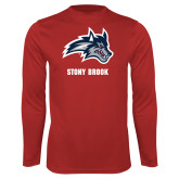 Performance Red Longsleeve Shirt-Wolfie Head and Stony Brook