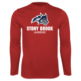 Performance Red Longsleeve Shirt-Wolfie Head Stony Book Lacrosse