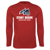 Performance Red Longsleeve Shirt-Wolfie Head Stony Book Marching Band
