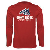 Performance Red Longsleeve Shirt-Wolfie Head Stony Book Athletic Bands