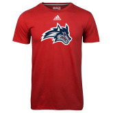 Adidas Climalite Red Ultimate Performance Tee-Wolfie Head