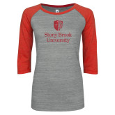 ENZA Ladies Athletic Heather/Red Vintage Baseball Tee-University Mark Vertical Red Glitter