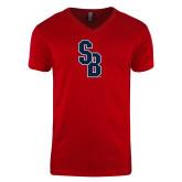 Next Level V Neck Red T Shirt-Interlocking SB