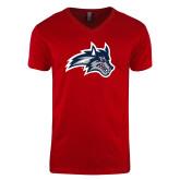 Next Level V Neck Red T Shirt-Wolfie Head