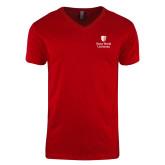 Next Level V Neck Red T Shirt-University Mark Vertical