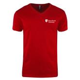 Next Level V Neck Red T Shirt-University Mark Stacked
