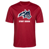 Performance Red Heather Contender Tee-Wolfie Head and Stony Brook