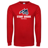 Red Long Sleeve T Shirt-Wolfie Head Stony Book Football