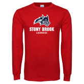Red Long Sleeve T Shirt-Wolfie Head Stony Book Lacrosse