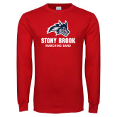 Red Long Sleeve T Shirt-Wolfie Head Stony Book Marching Band