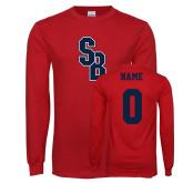 Red Long Sleeve T Shirt-Interlocking SB, Custom Tee w/ Name and #