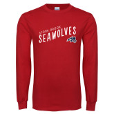 Red Long Sleeve T Shirt-Stony Brook Seawolves