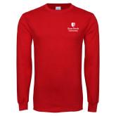 Red Long Sleeve T Shirt-University Mark Vertical