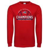 Red Long Sleeve T Shirt-2019 America East Baseball Champions