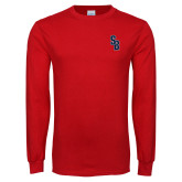 Red Long Sleeve T Shirt-Interlocking SB
