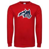 Red Long Sleeve T Shirt-Wolfie Head