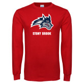 Red Long Sleeve T Shirt-Wolfie Head and Stony Brook