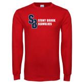 Red Long Sleeve T Shirt-Interlocking SB Stony Brook Seawolves