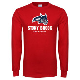Red Long Sleeve T Shirt-Wolfie Head and Stony Brook Seawolves