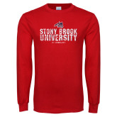 Red Long Sleeve T Shirt-Stacked Distressed