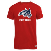 Russell Red Essential T Shirt-Wolfie Head and Stony Brook