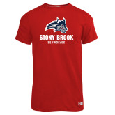 Russell Red Essential T Shirt-Wolfie Head and Stony Brook Seawolves