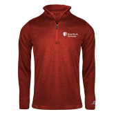 Russell Red Heather 1/4 Zip-University Mark Stacked