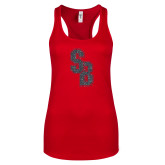 Next Level Ladies Red Ideal Racerback Tank-Interlocking SB Graphite Soft Glitter