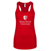 Next Level Ladies Red Ideal Racerback Tank-University Mark Vertical White Soft Glitter