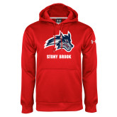 Under Armour Red Performance Sweats Team Hoodie-Wolfie Head and Stony Brook