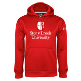 Under Armour Red Performance Sweats Team Hoodie-University Mark Vertical