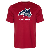 Performance Red Tee-Wolfie Head and Stony Brook
